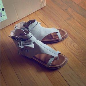 Gray flat sandals